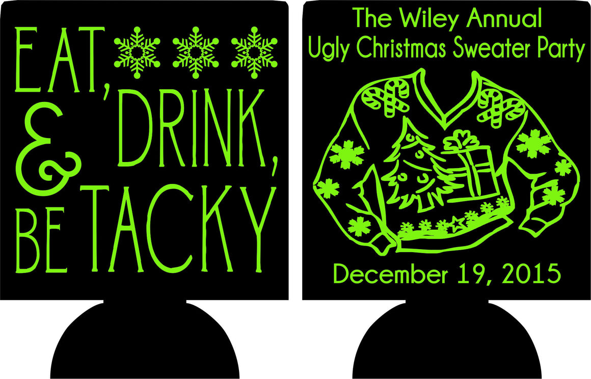 Tacky Christmas sweater party Koozies favors can coolers 1058684048