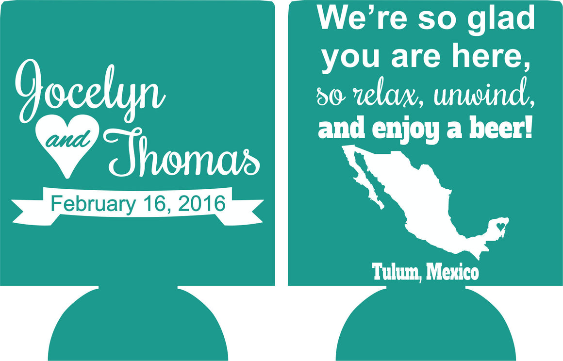 Destination Wedding Koozies Mexico custom Can Coolers