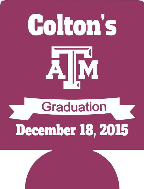 Texas A & M graduation can coolers personalized