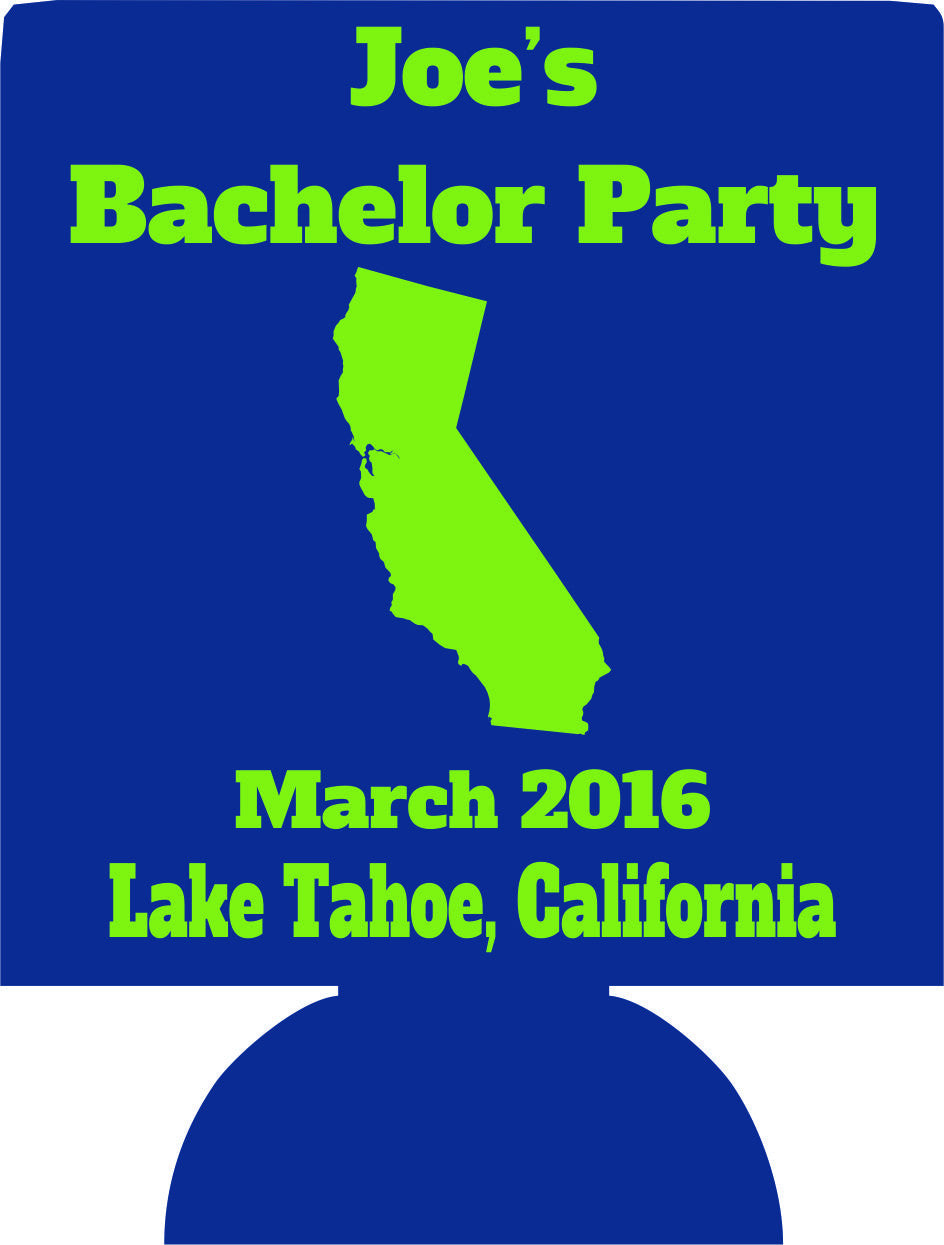 Lake Tahoe Bachelor party koozie custom favors
