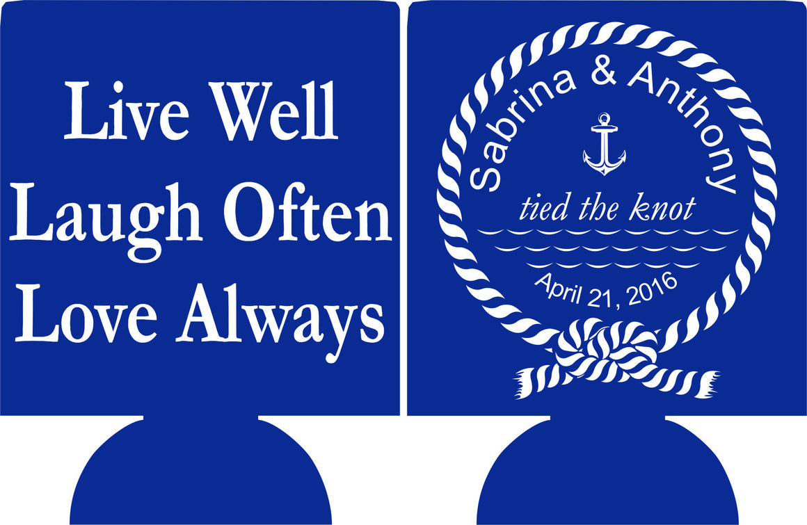 Nautical Wedding Koozie we tied the knot love always