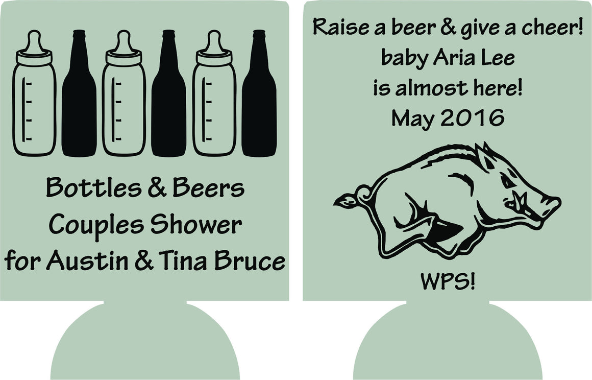 Raise a beer baby shower koozie bottles and beers