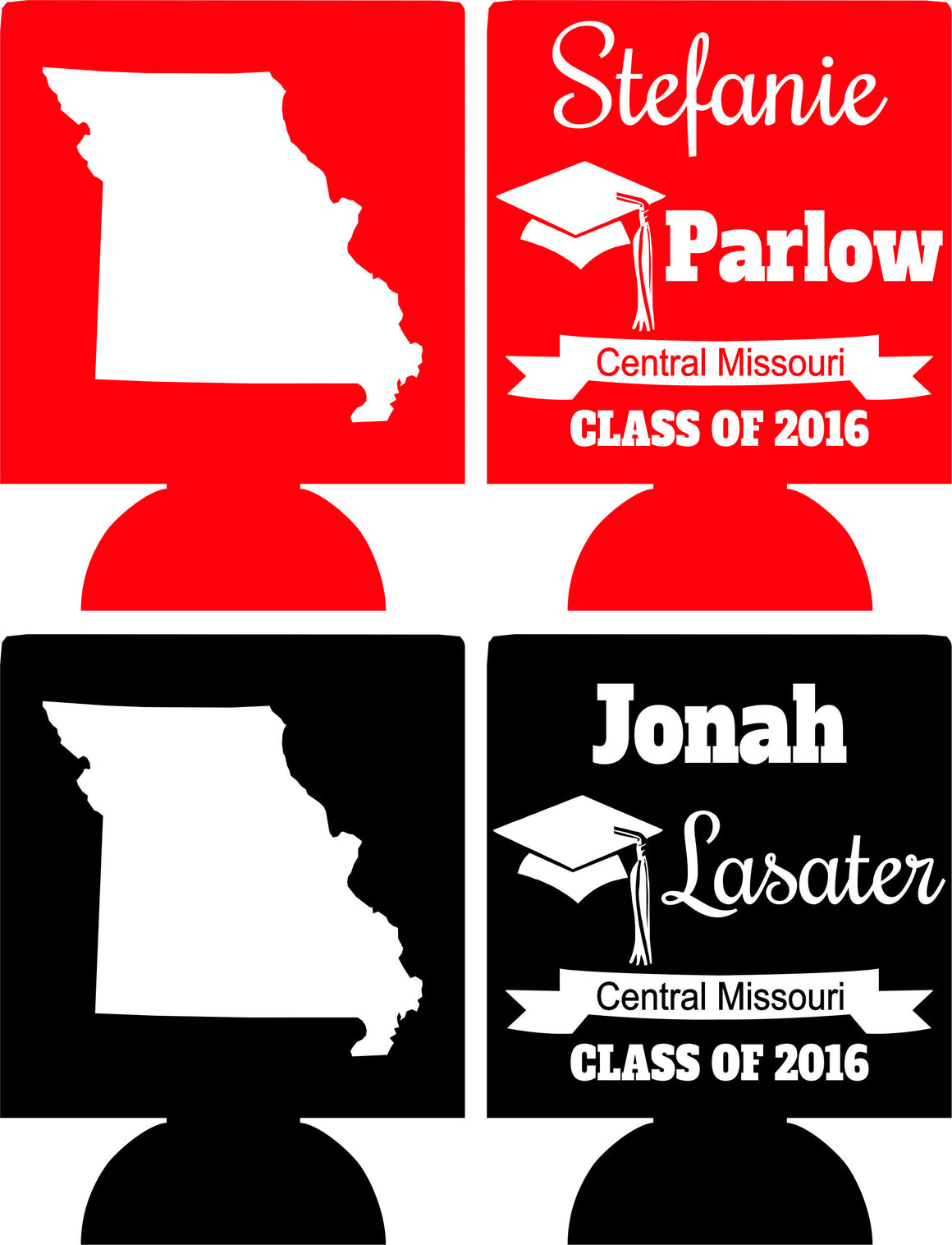 state graduation koozie Missouri custom can coolers