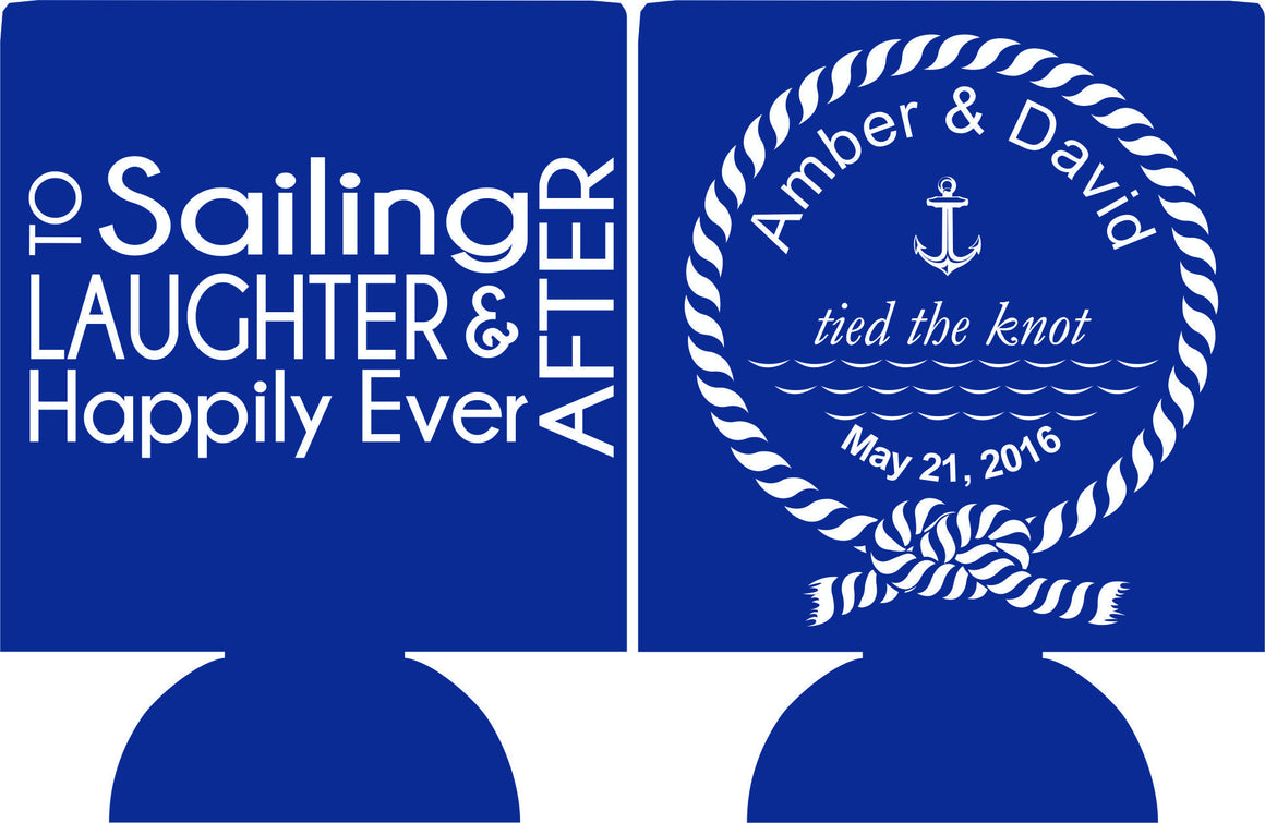 Nautical Wedding Koozie to sailing laughter and happily