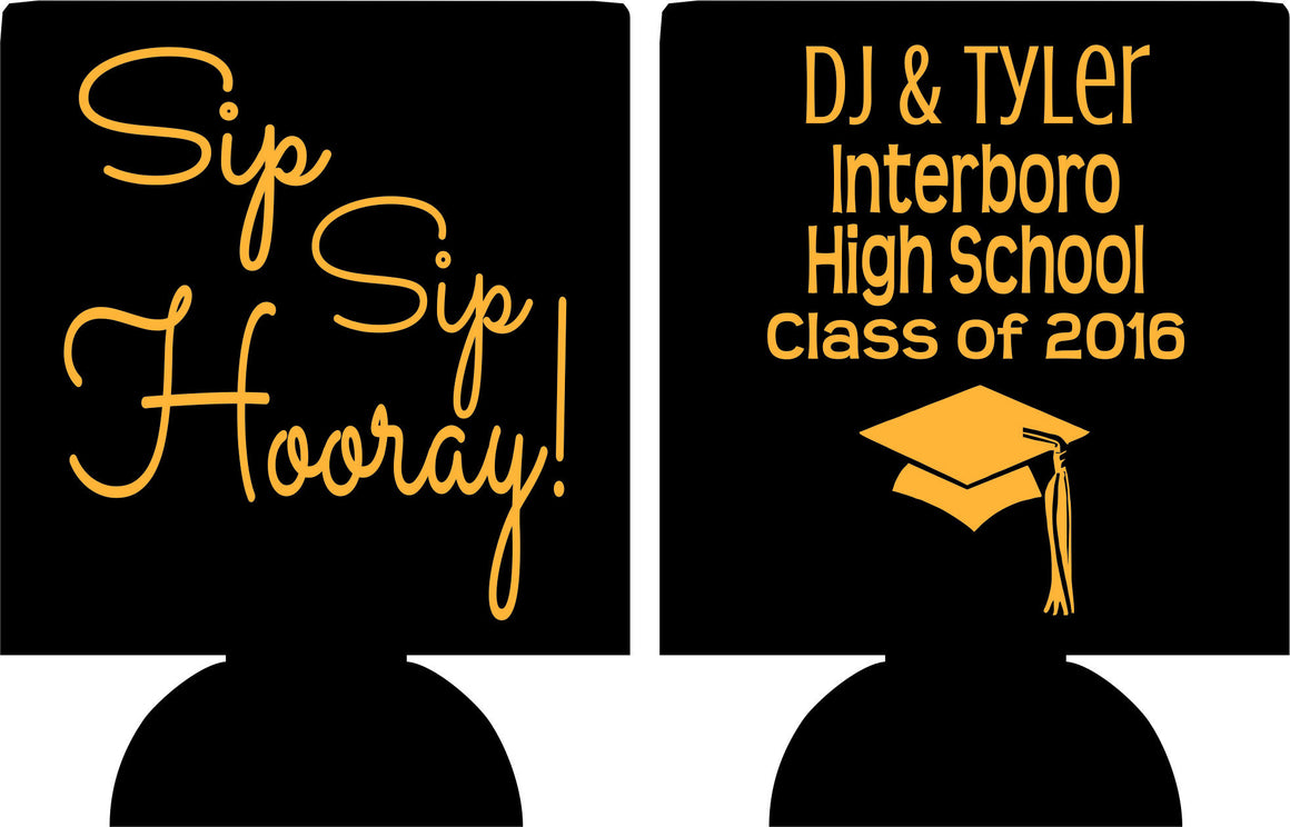 sip sip hooray graduation party koozie favors can coolers