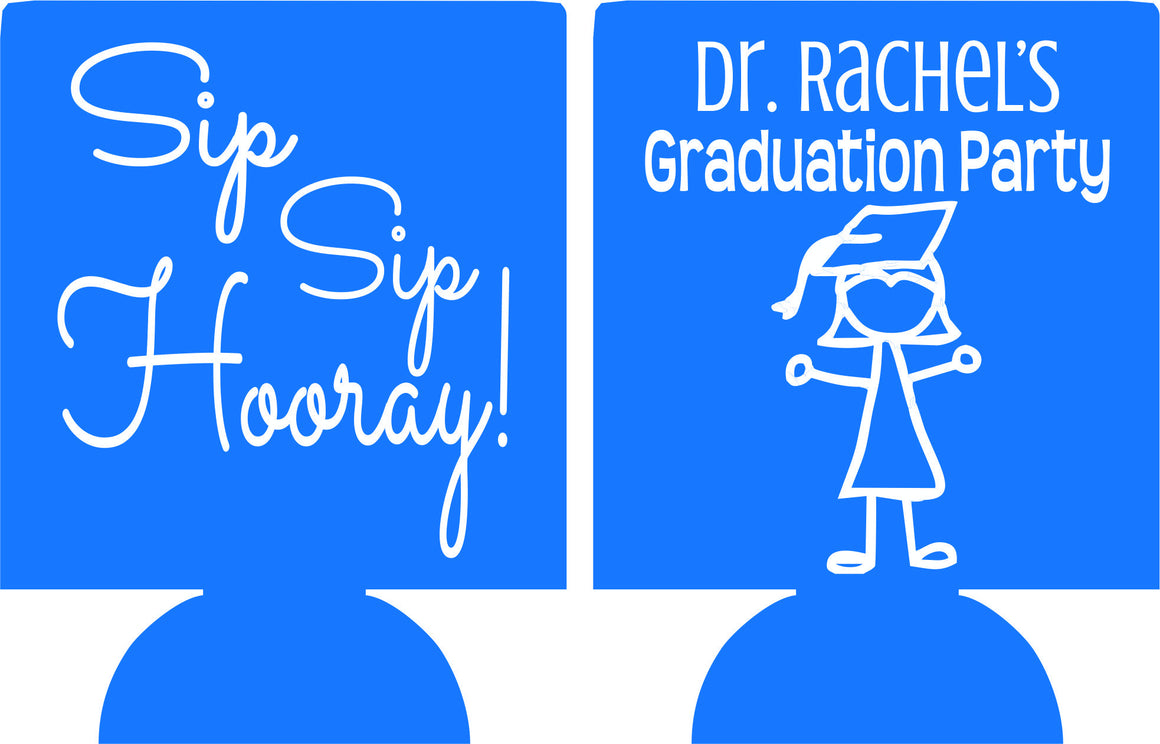 Dr graduation koozies can coolers personalized