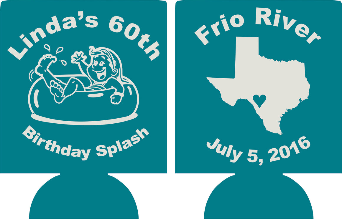 60th Birthday splash river float koozies can coolers no minimum