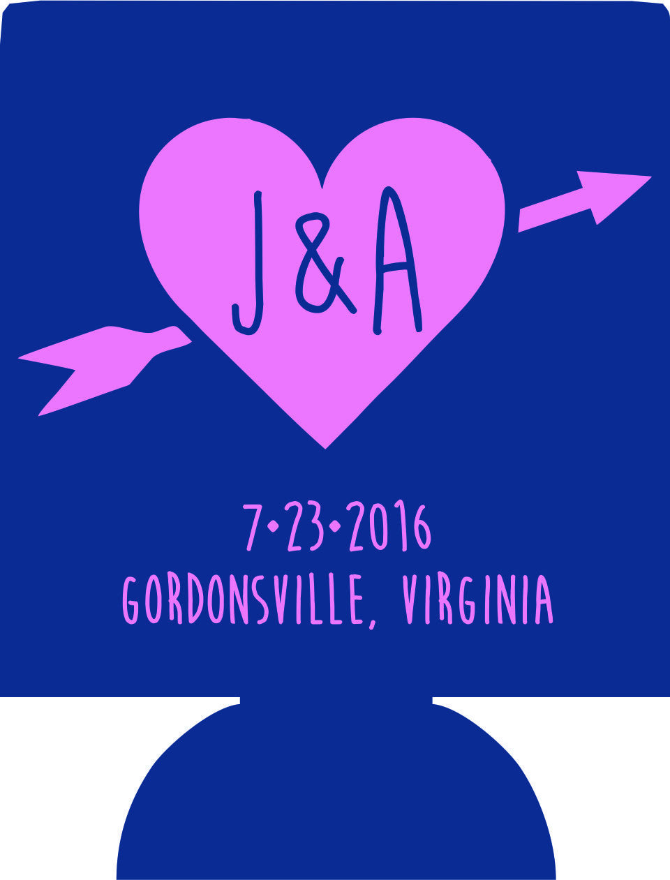 Wedding heart with arrow Monogram Koozie beer Can holders