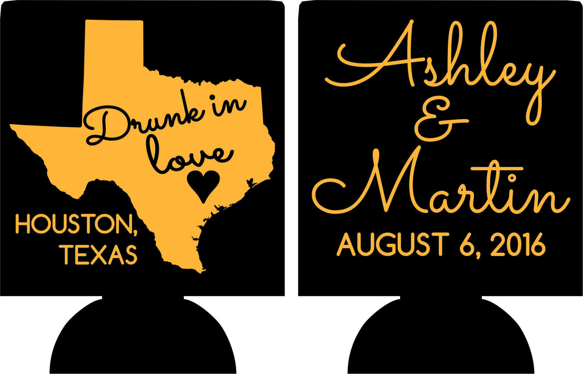 Drunk in Love Wedding koozies Houston Texas metallic gold