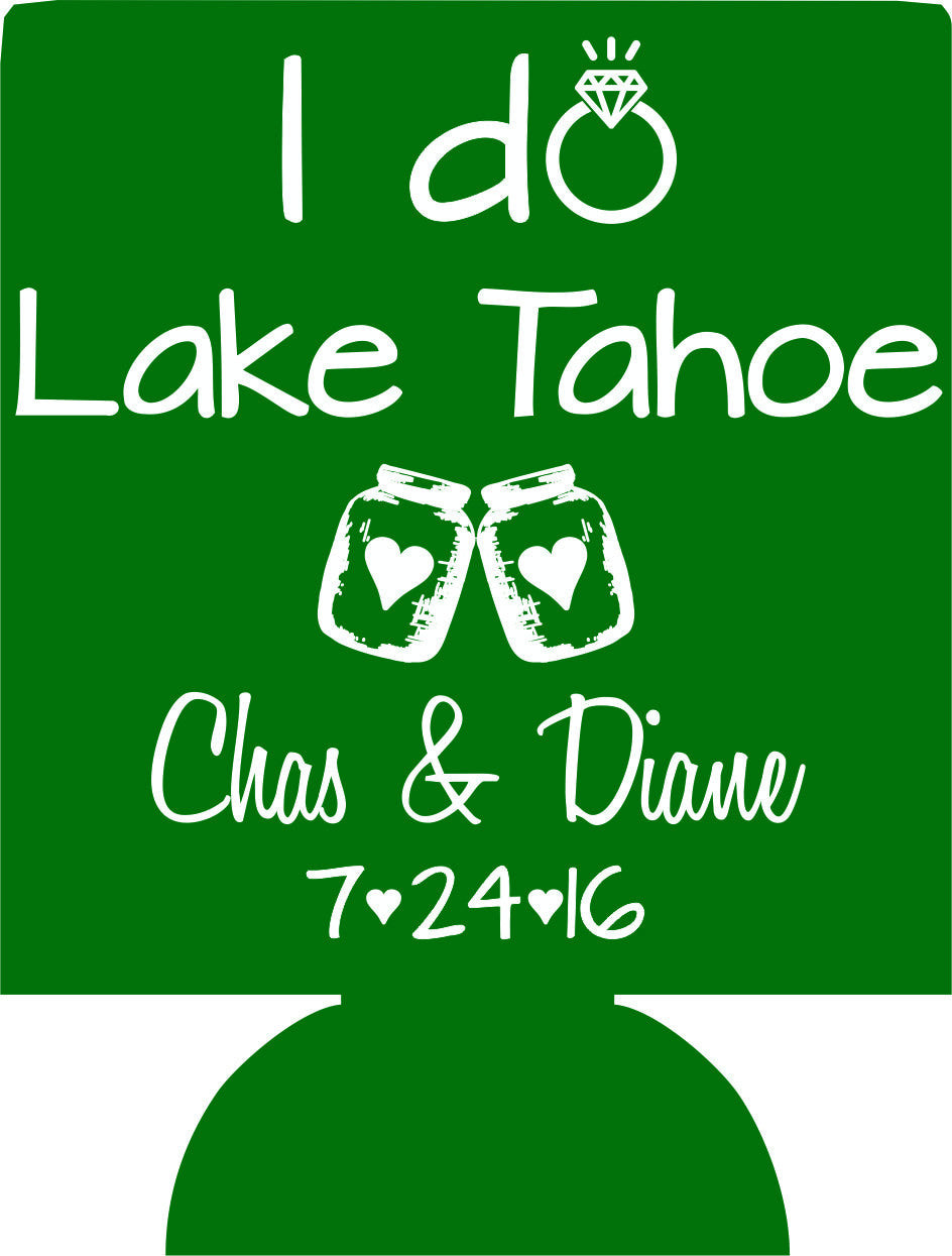 Lake Tahoe wedding koozies I do BBQ party favors Can Coolies 1112597746