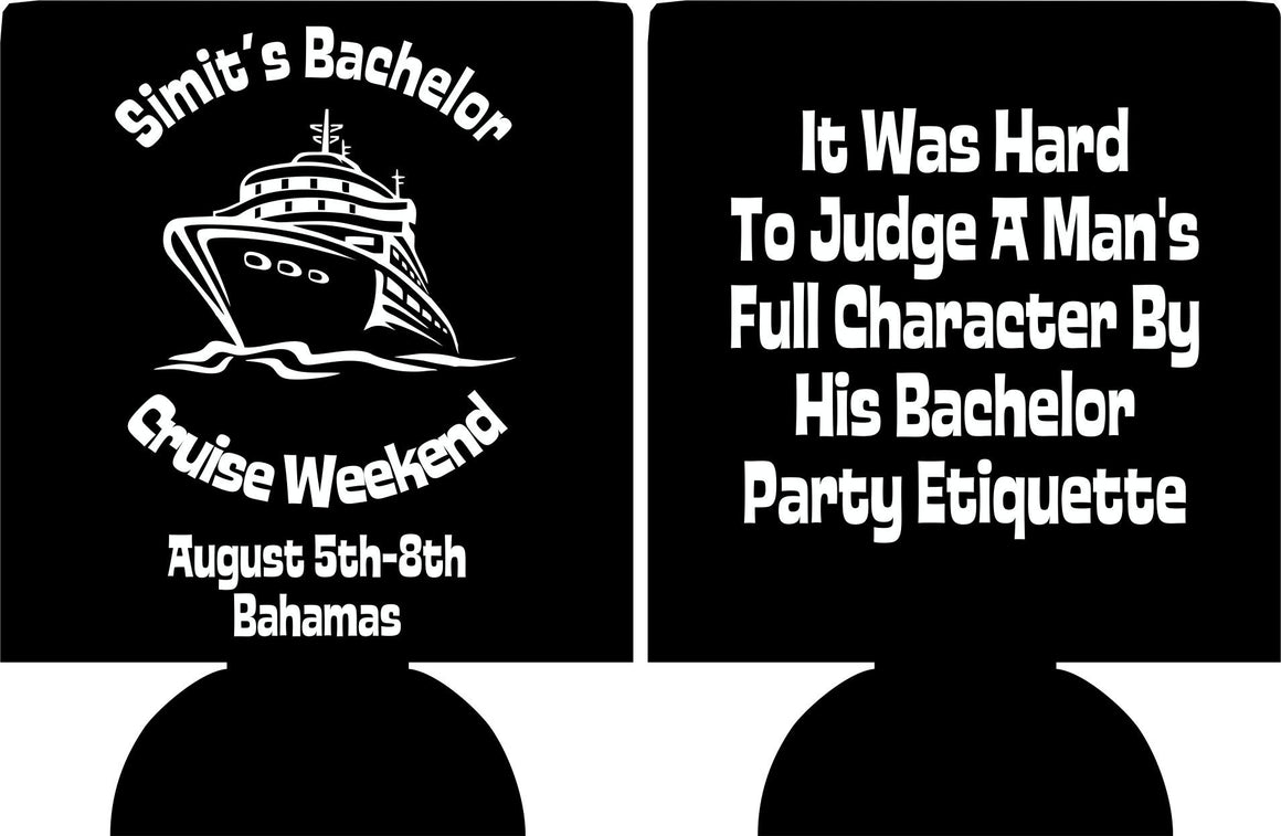 Bachelor Party cruise Koozies custom can coolies