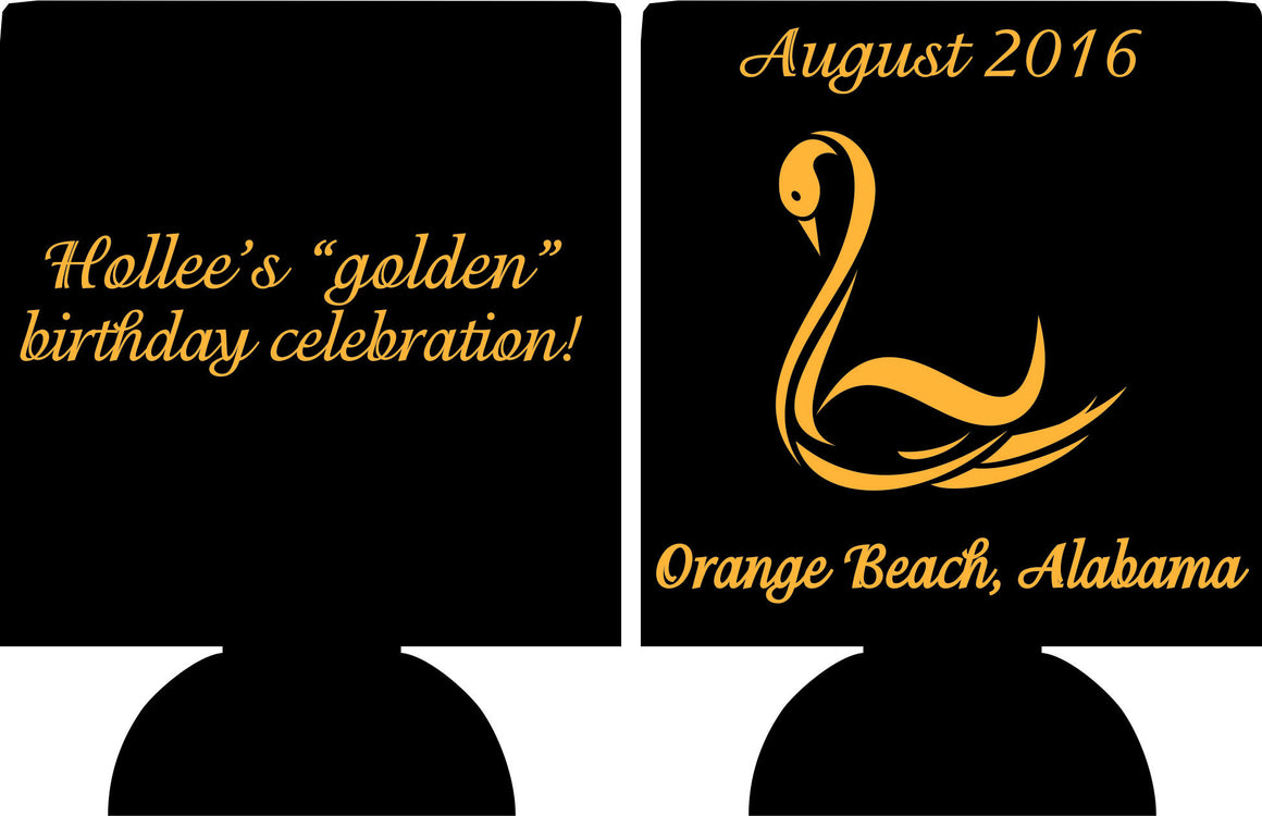 Golden Swan 50th Birthday party favors can coolers