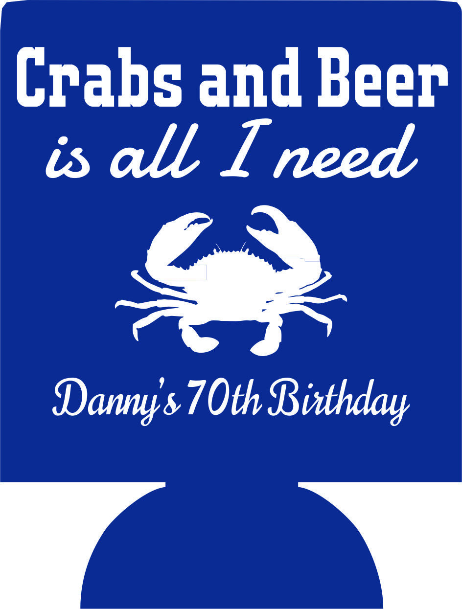 70th Birthday party favors Crab can coolers 1117945087