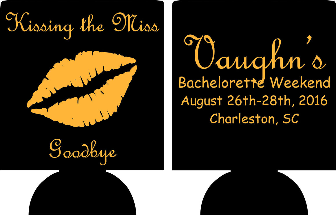 Kiss the miss goodbye Bachelorette koozies Party custom favors