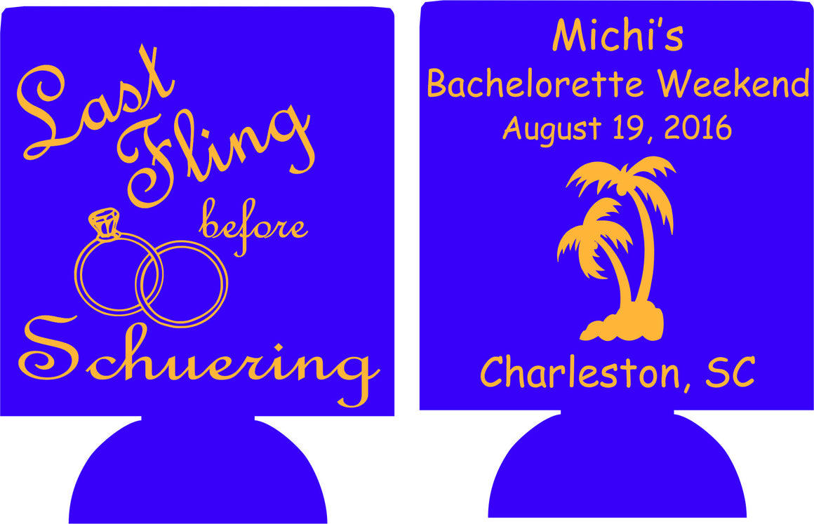 South Carolina Last Fling Bachelorette koozies