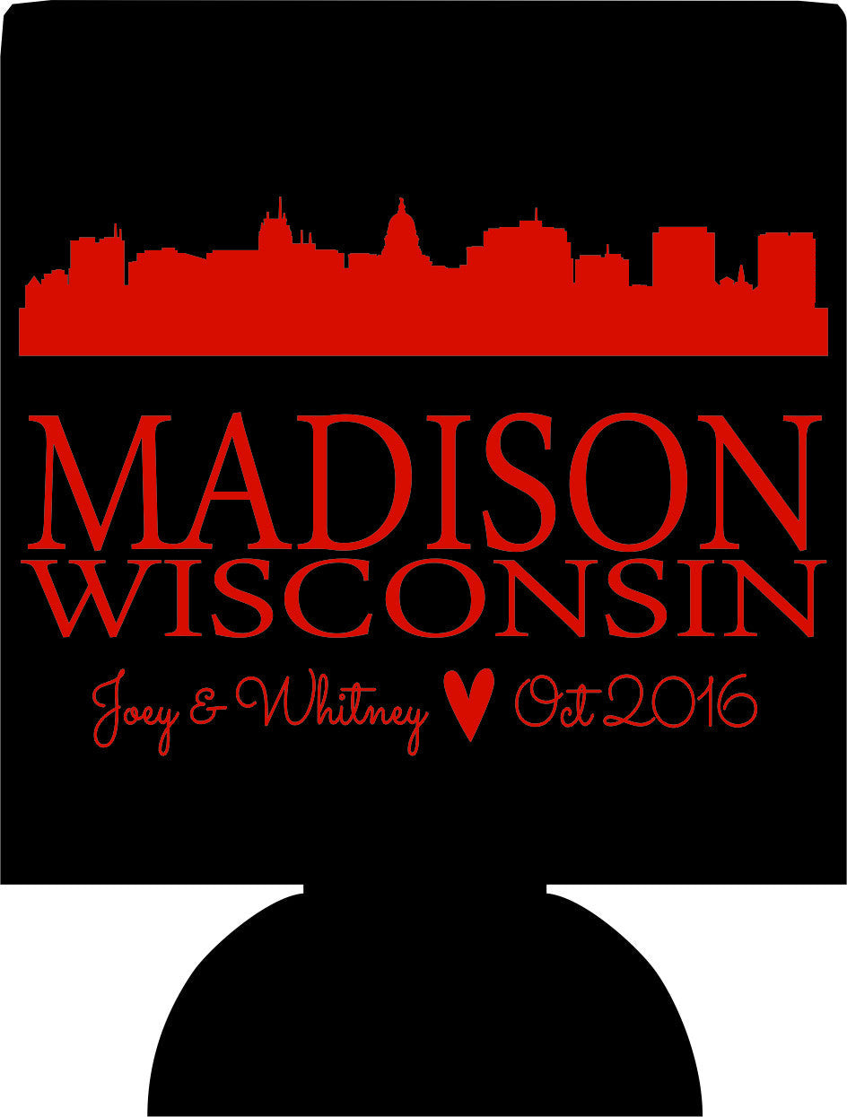 Wisconsin wedding koozies