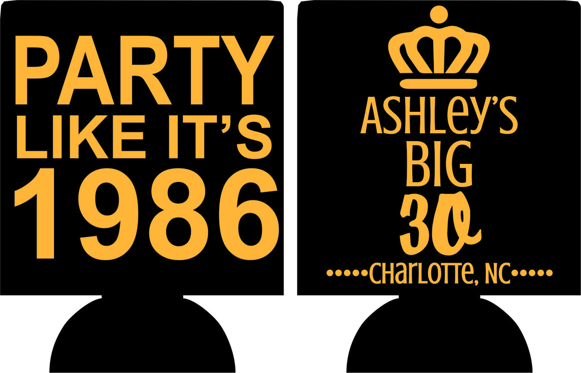 Metallic Gold Party Like it's 30th Birthday koozies