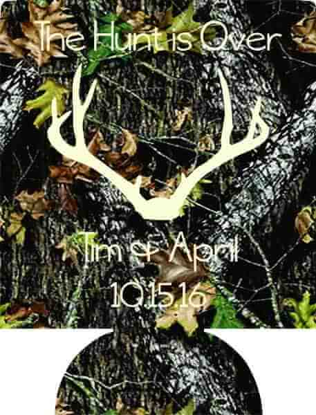 the hunt is over camo wedding coozies cheap