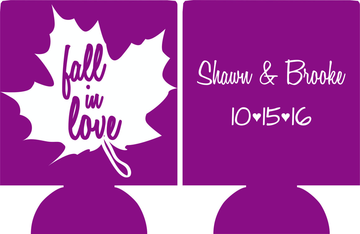 fall in love wedding koozies