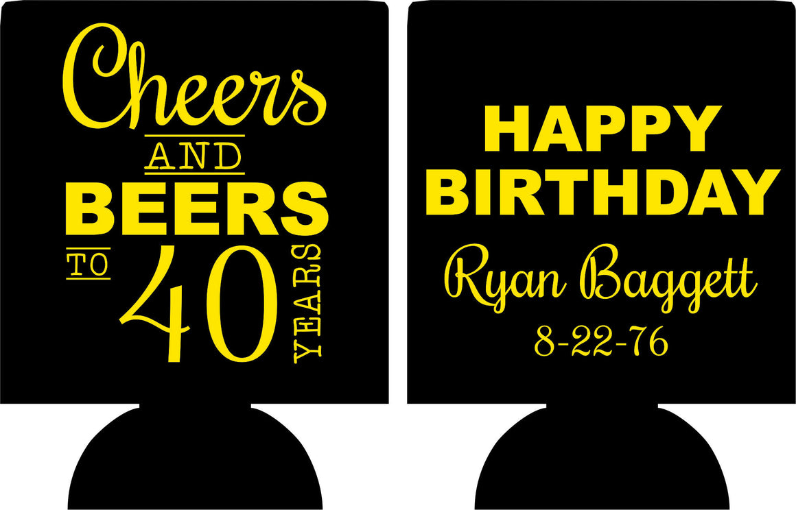 Cheers and Beers 40th Birthday party favors can coolers 1122084353
