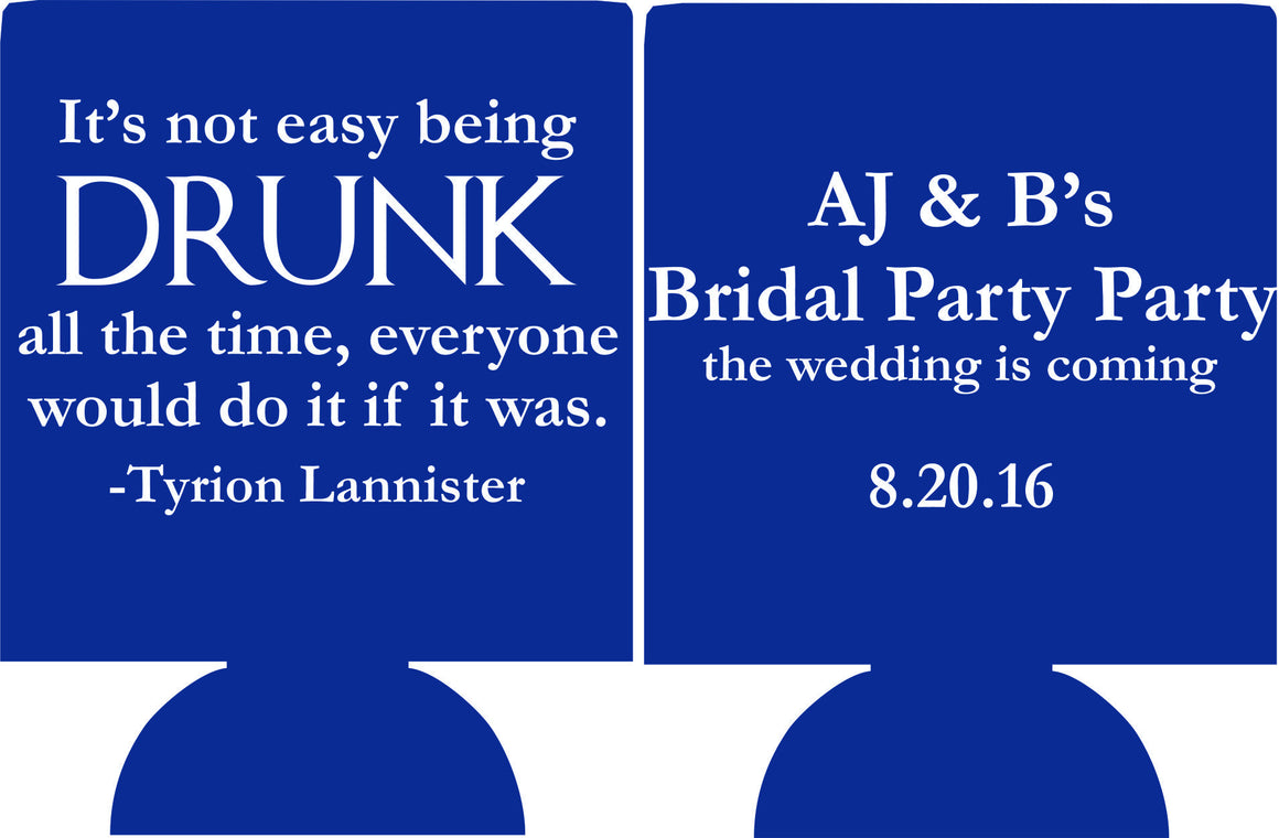 Game of Thrones Koozie Bridal Party koozie