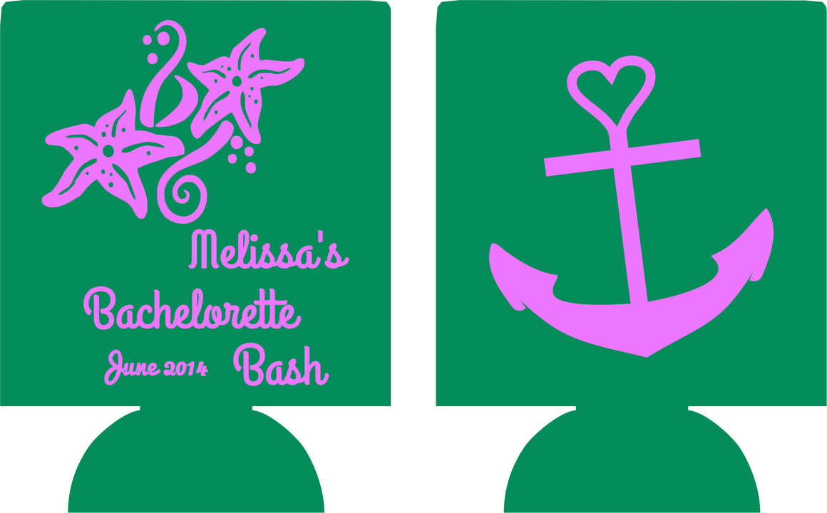 Nautical Bachelorette bash custom koozie