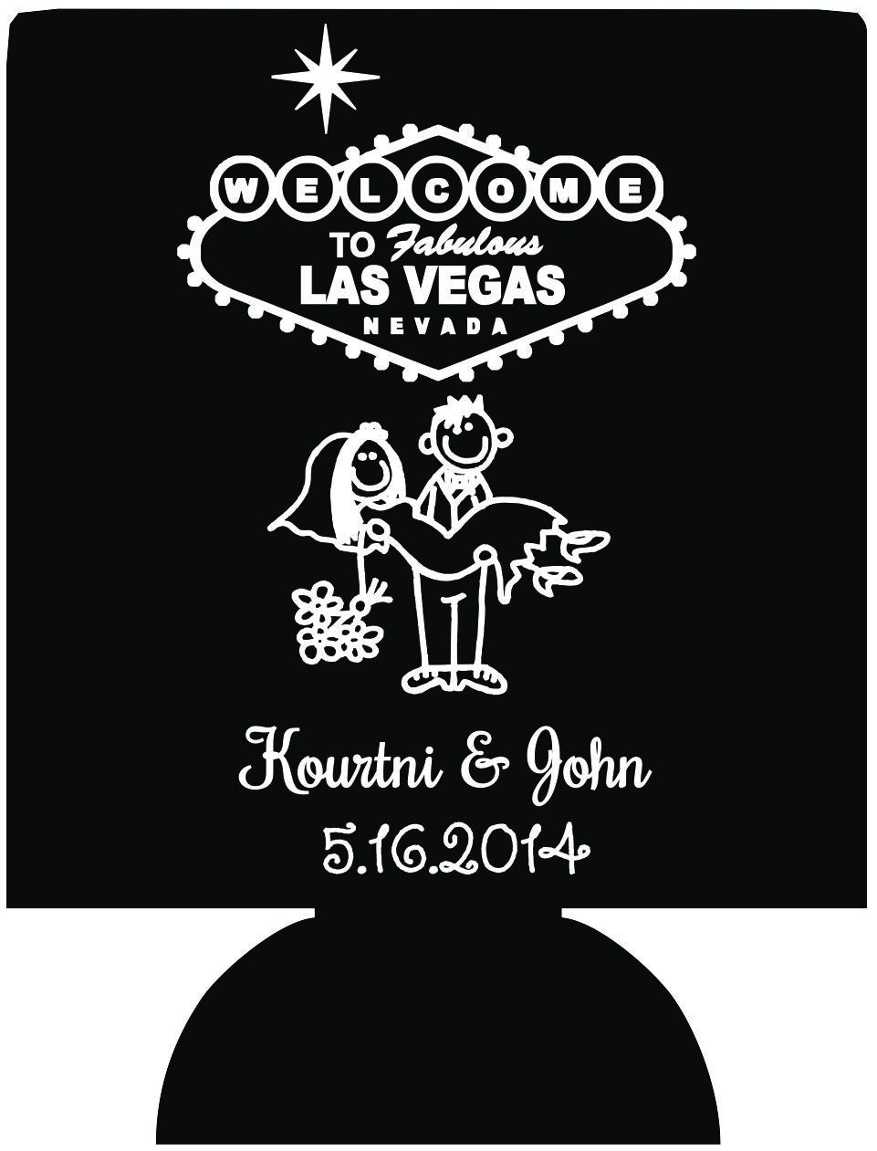 Las Vegas wedding koozies party favors Can Coolers