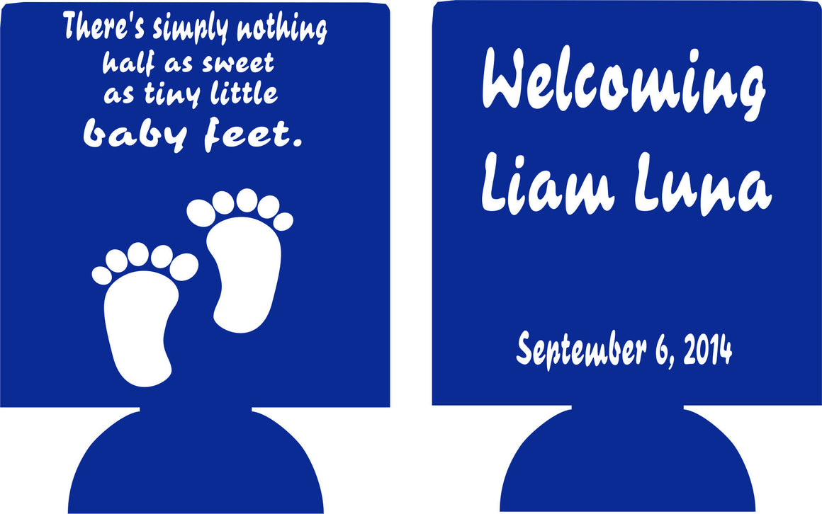 tiny baby feet baby shower favors Can Coolers