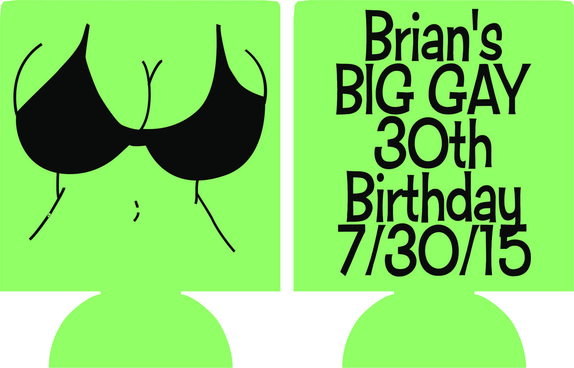 30th big Birthday koozies funny bikini girl can coolers