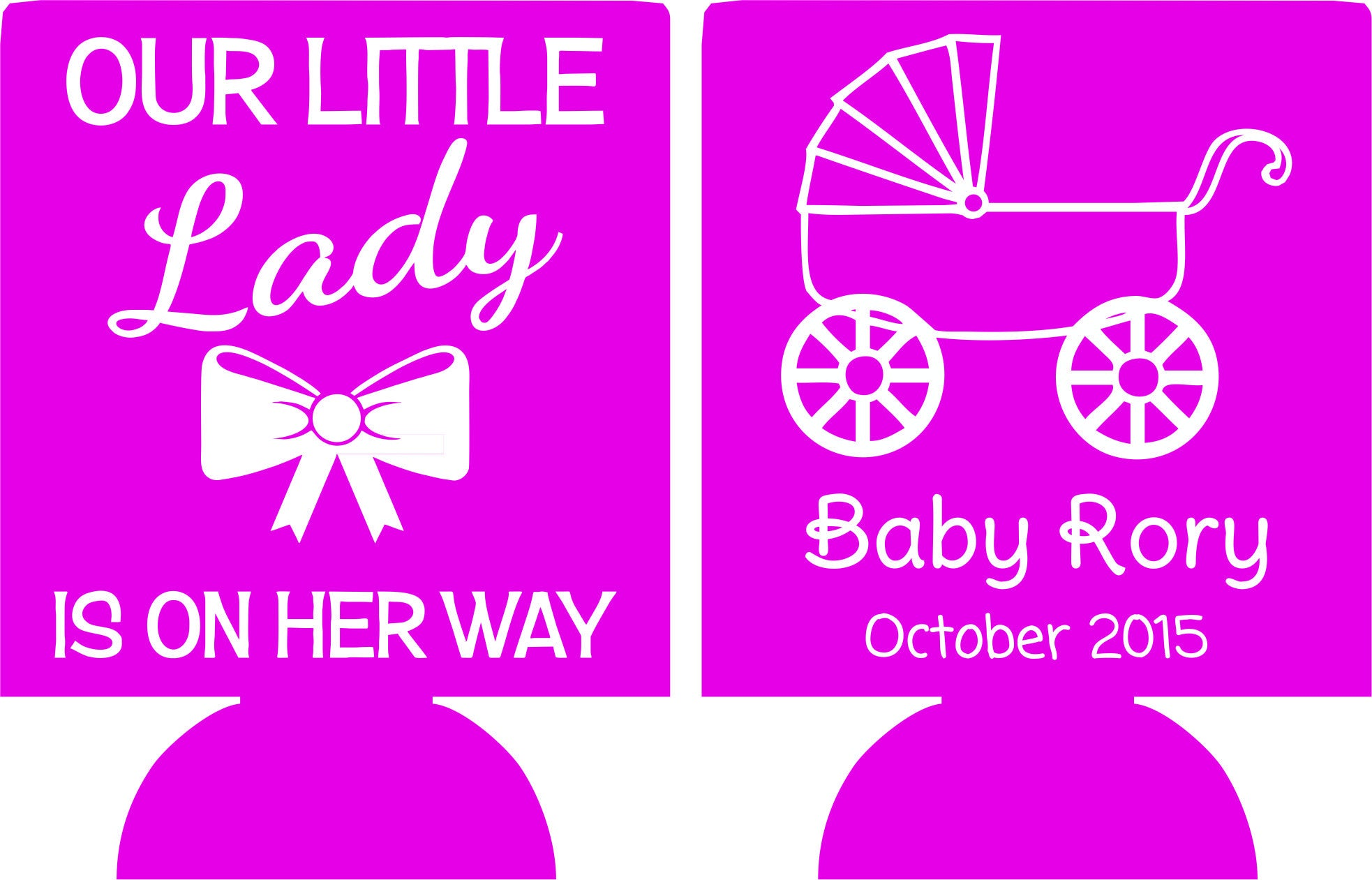 Little Lady Baby Shower Favors Can Coolers Customizable Odysseycustom