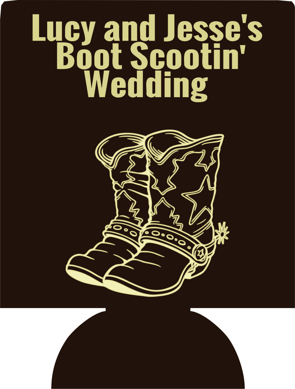 boot scootin' wedding koozies party favors Can Coolers