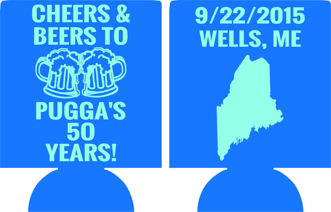 cheers and beers Maine 50th Birthday Koozies can coolers