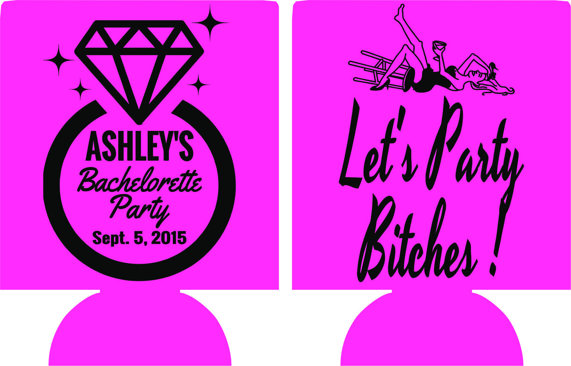 custom personalized lets party bachelorette koozie