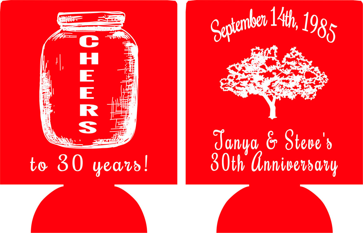 30th Wedding Anniversary Koozies cheers to 30 years Can Coolers