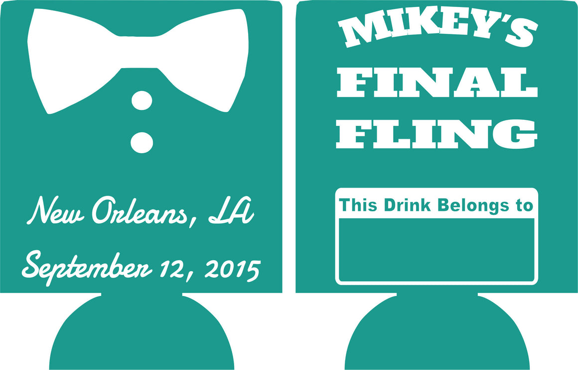 final fling New Orleans Bachelor Party Koozies