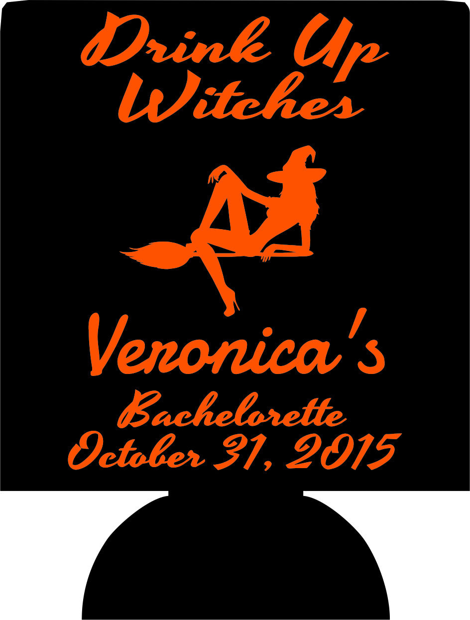 Halloween Bachelorette Koozies drink up witches custom can coolies