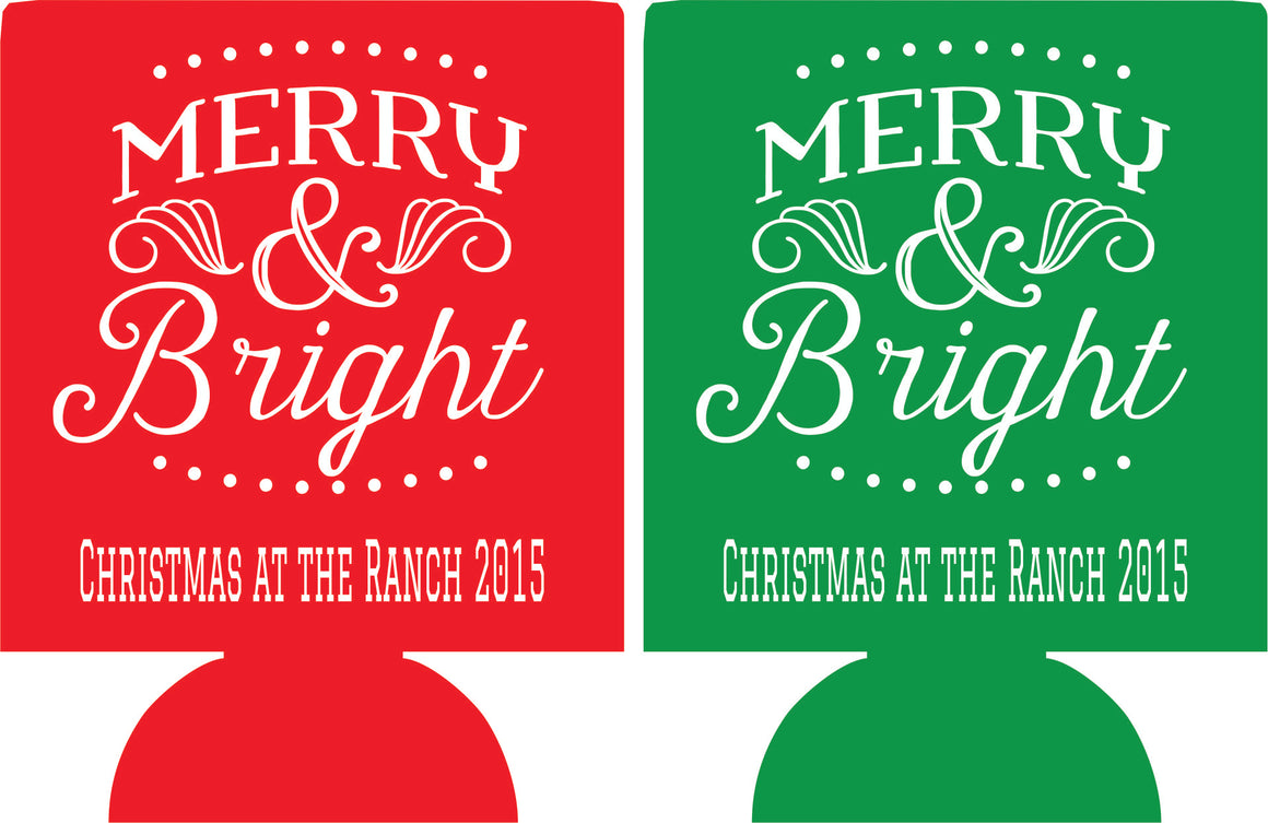 Merry & Bright Christmas party Koozies ideas can coolers ranch