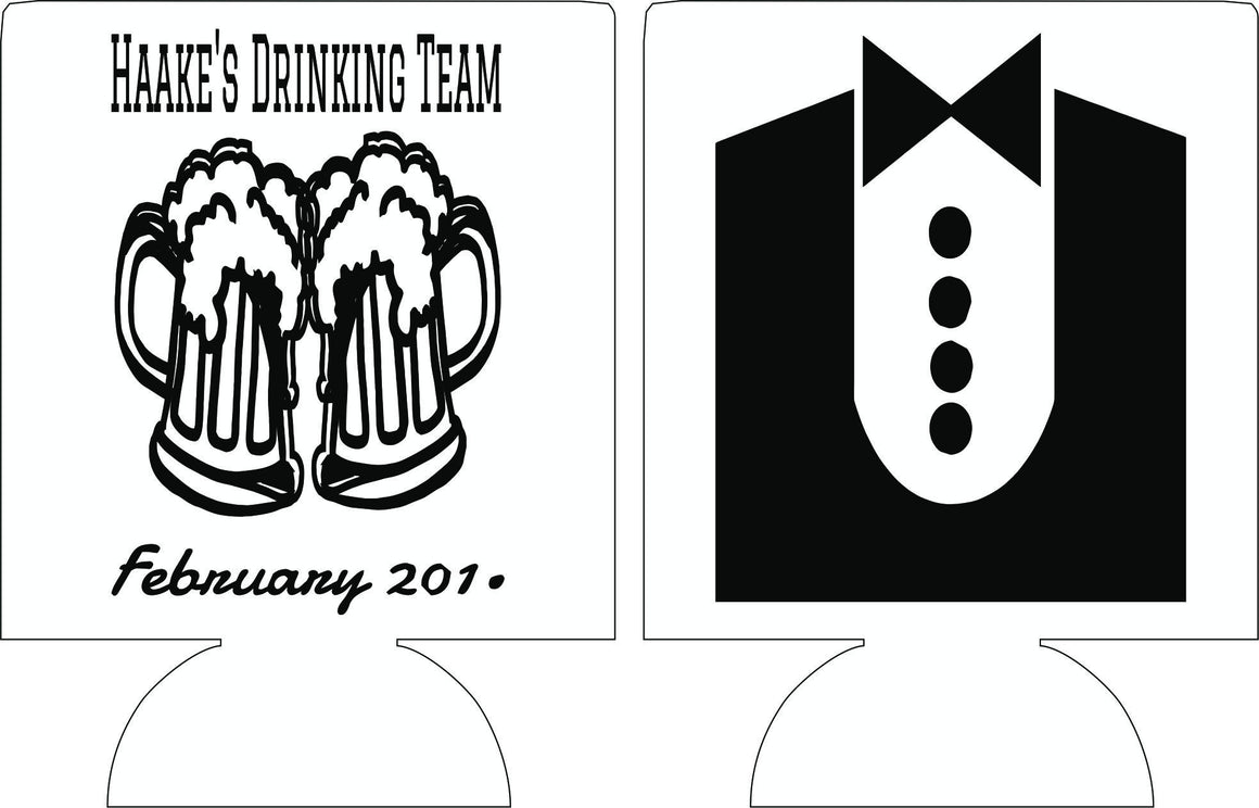 Drinking Team Bachelor Party Koozies custom can coolies