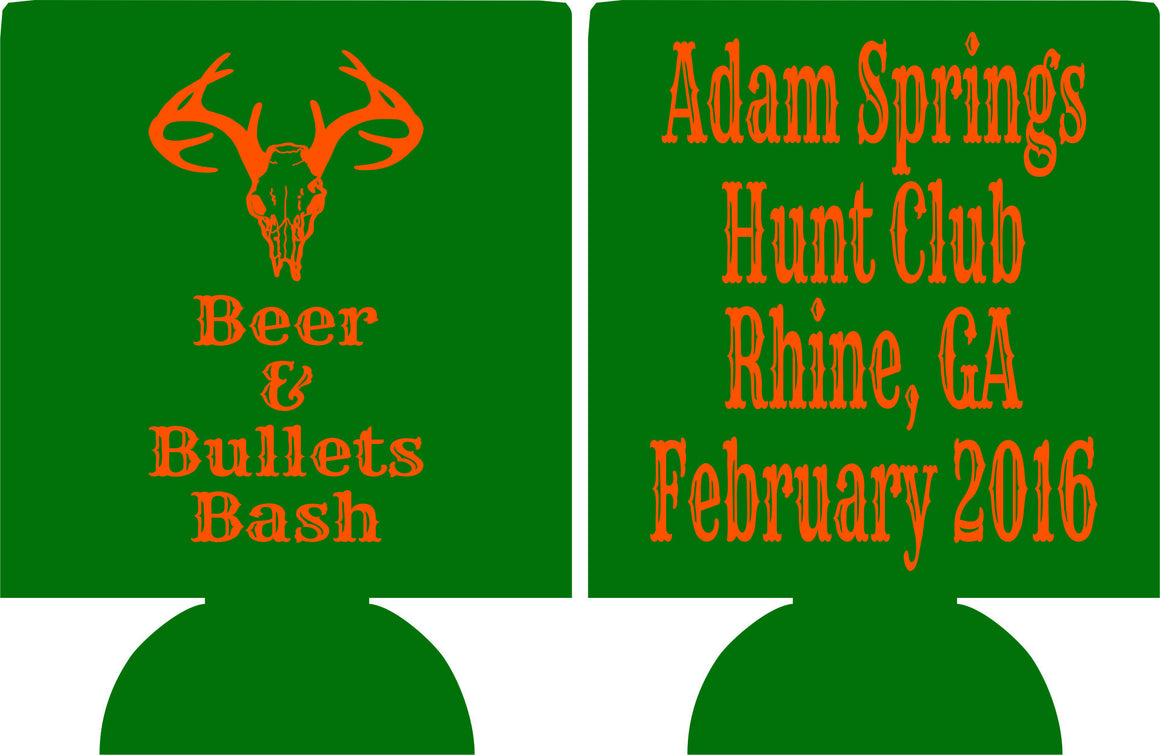Hunting club custom Koozie personalized low minimums