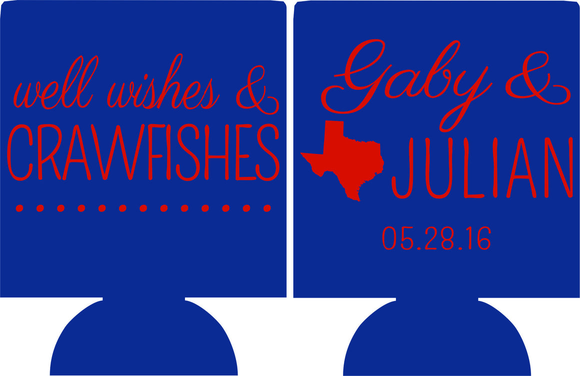 Well wishes and crawfishes Texas Wedding Koozies Can Coolers