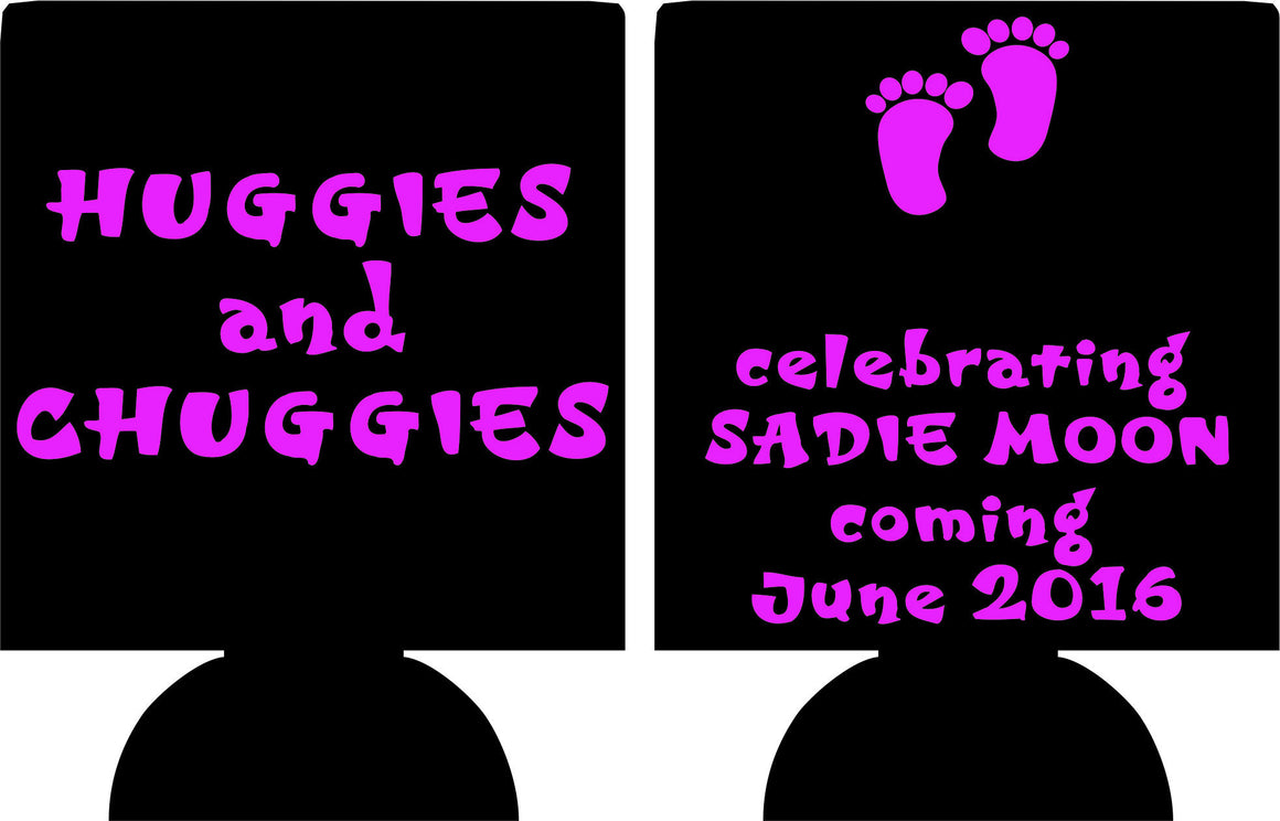 Huggies and Chuggies baby favors Can Coolers customizable