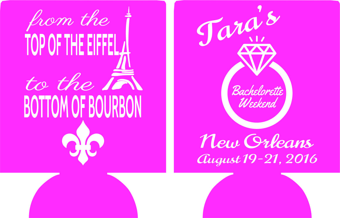 New Orleans Eiffel Tower Paris Bachelorette Koozies