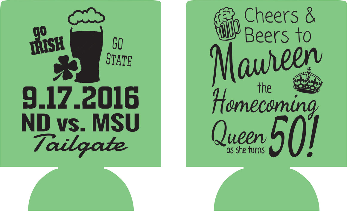 50th Birthday tailgate koozies homecoming queen can coolers