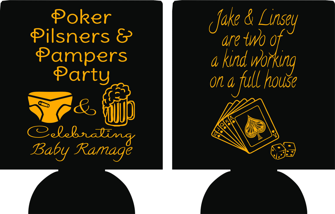 Poker and Pampers party koozies baby shower