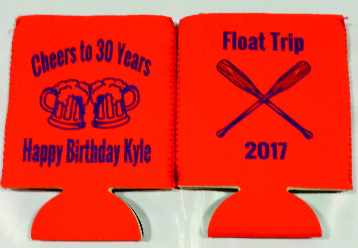 River Float 30th Birthday koozies