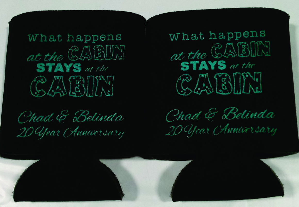 20th Wedding Anniversary Koozies Cabin