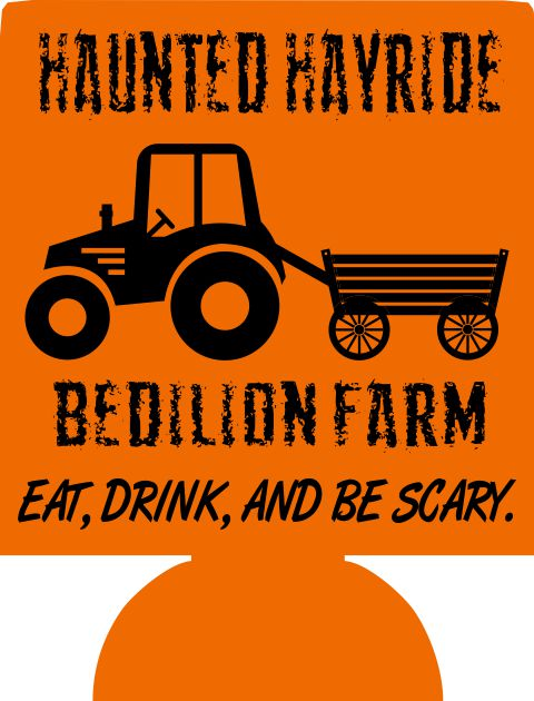 Haunted Hayride Halloween party favors can coolers 8741