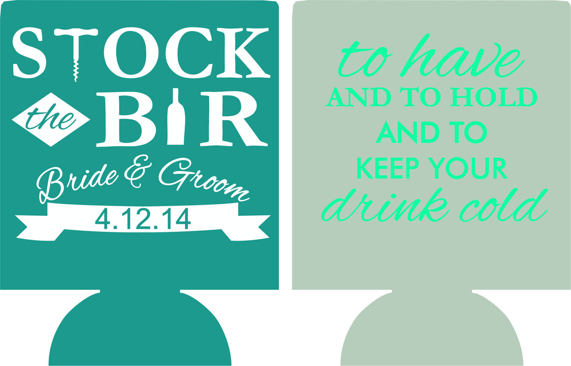 stock the bar wedding reception koozies