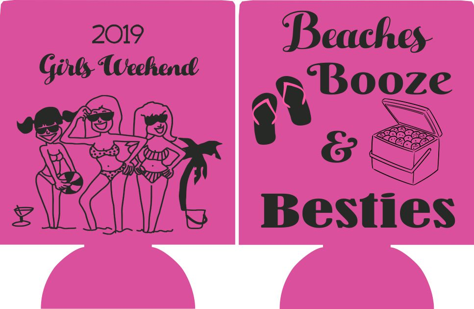beaches booze and besties koozie
