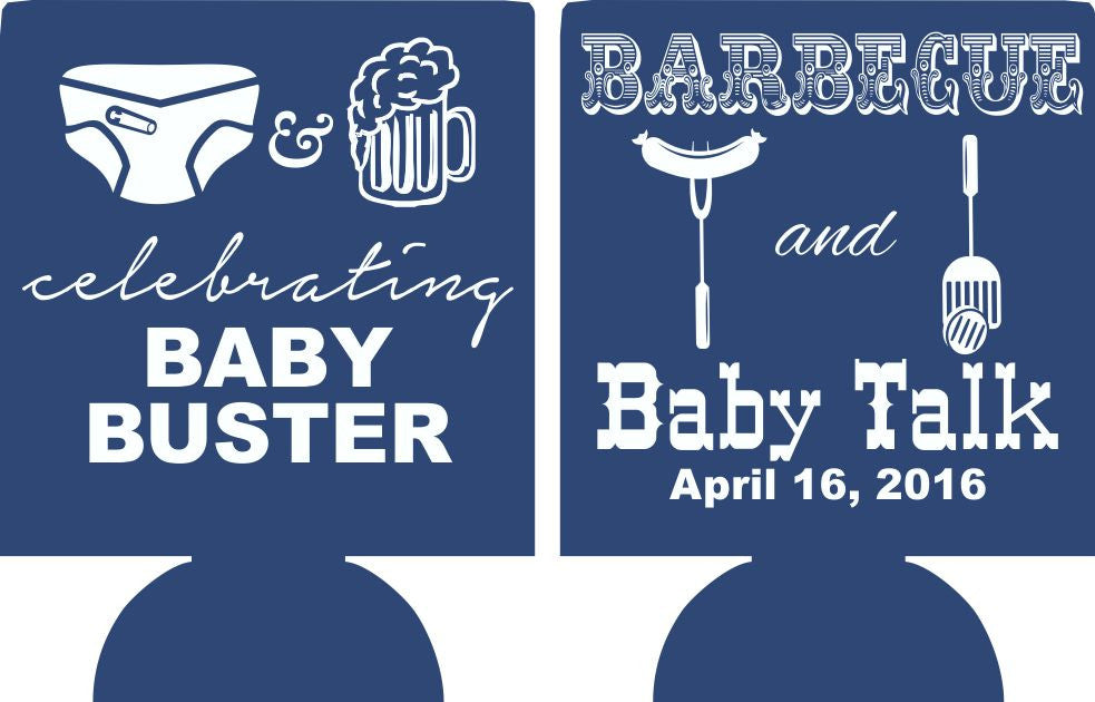 Barbecue and baby talk koozies shower favors Can Coolers